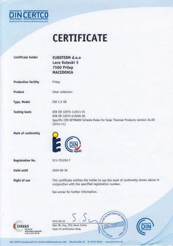 UniPlate DIN certificate